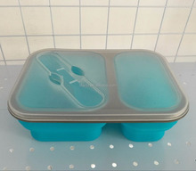 Save Space Silicone Bento folding Lunch Box .Airtight Silicone Food Storage Containers, Dishwasher & Microwave Safe