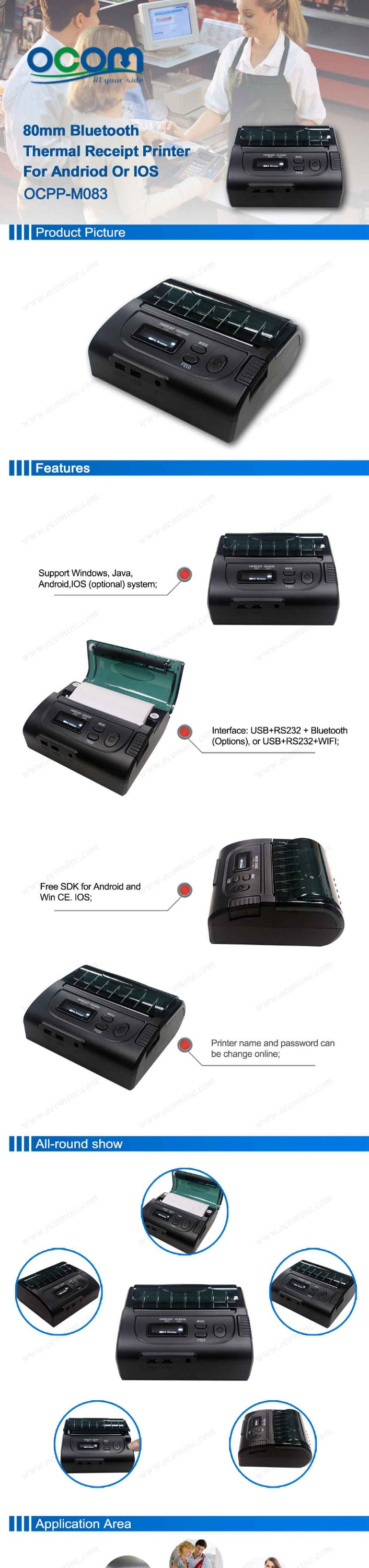 Android Bluetooth Receipt Printer 80MM USB Receiptprinter Bluetooth Thermal Printer