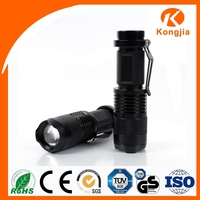 Mini Portable Flashlight Zoomable Aluminum Alloy Super Bright Rechargable 7W 300LM Mini Led Flashlight