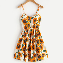 Hot Sunflower Print Crisscross Back A Line mini Dress
