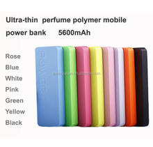 Ultra thin 5600mAh Power Bank Ultrathin 11mm li-Polymer Perfume Power Bank ,11 colors with keychain