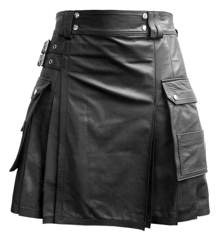 Real Leather Black Utility Cargo Kilt Genuine 100% Black Leather Casual Pleated Scottish Kilt