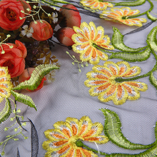 best selling handmade 100% polyester yellow flower embroidered lace fabric london style 3d embroidery fabric for tablecloth