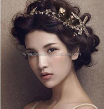 Bride golden headdress sea star pearl hair ornaments leaves with a wedding dress with jewelry