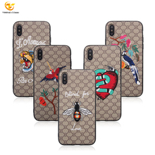 2018 Hot for iPhone X PC PU Hard Printed Mobile Back Cover Leather Hybrid Embroidery Phone Case