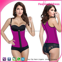 Cheap Women Firm Shaper Steel Boned Sexy Pink Latex Vest Waist Cincher