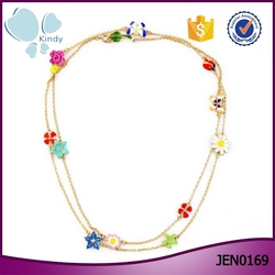 Women flower charm jewelry gold long chain artificial flowers necklace
