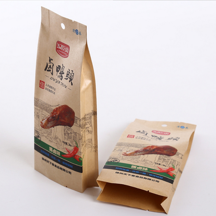 Side gusset sealed kraft bag for jerky and nuts with food grade