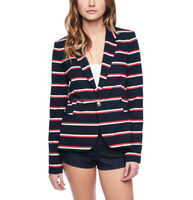 CHEFON Classic stripes blazer,curved hem contour seams back vent black blazer