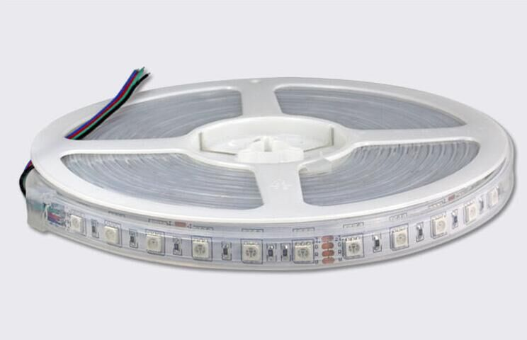 <strong>RGB</strong> color DC24V LED strip 5050 SMD flexible light 60LED/m,5m 300LED,waterproof silicon tube;IP66