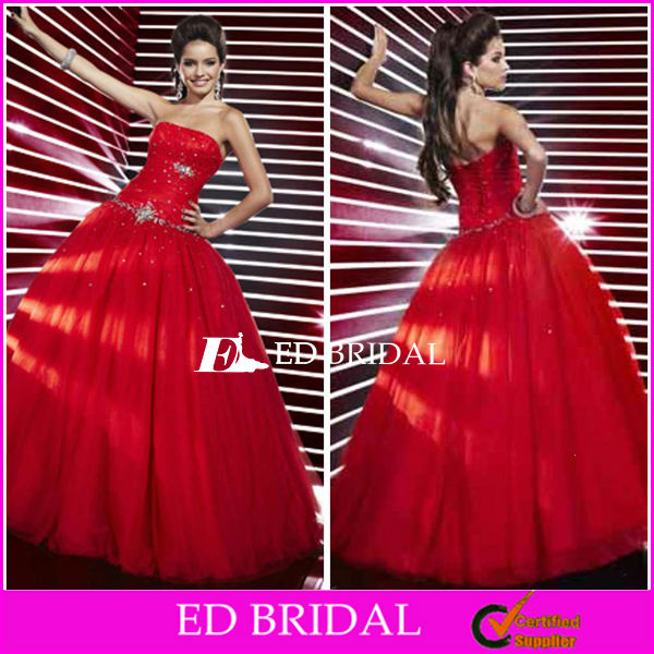 pd111 Ball Gown Strapless Sparkle Beading Little Girls Red Quinceanera Dresses