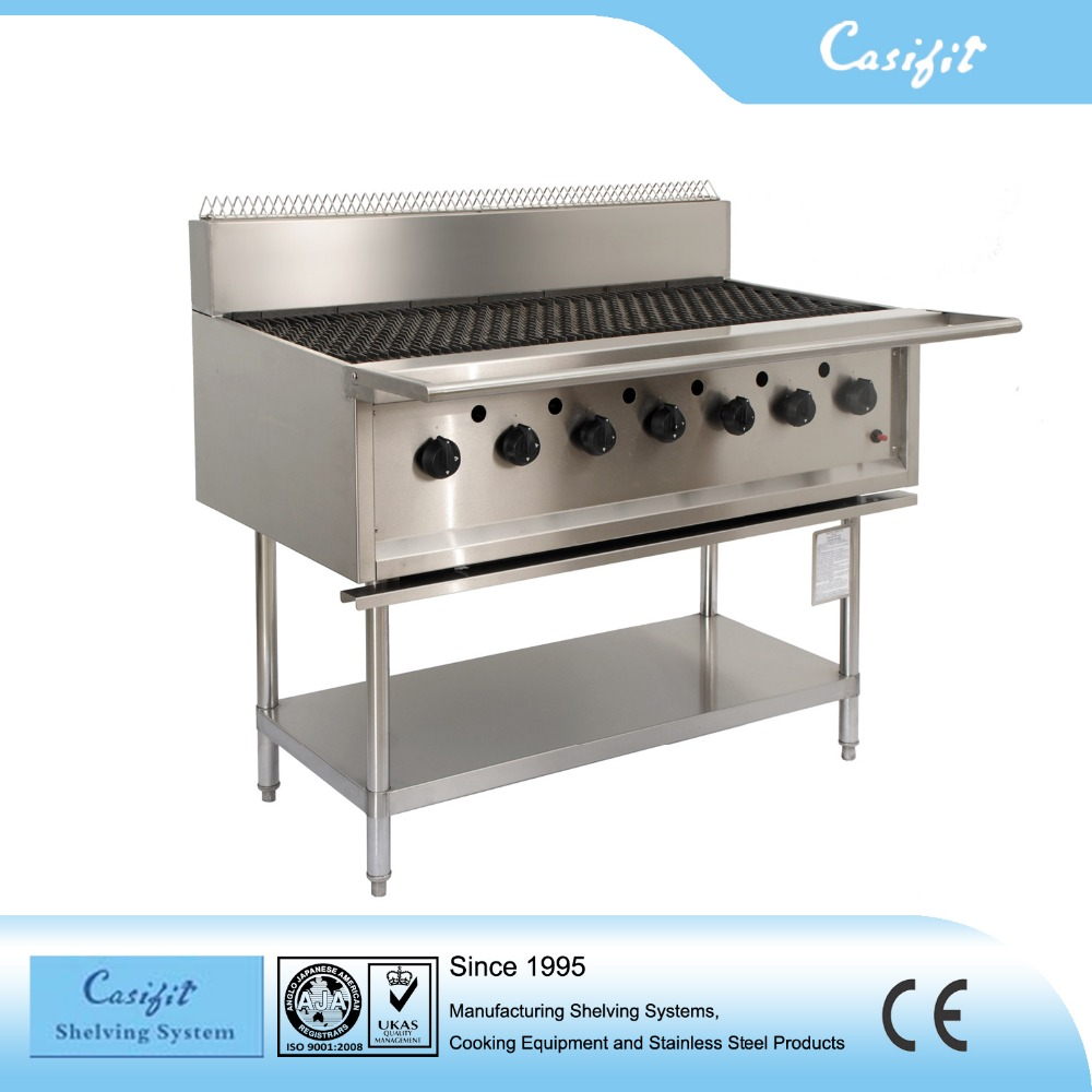 Commercial Kitchen equipment stainless steel gas BBQ grill machine 7 Burners