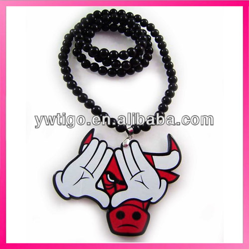 Wholesale bead chain bull head necklace
