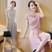 New style European summer new size two Waist Chiffon dress color wide leg pants suit