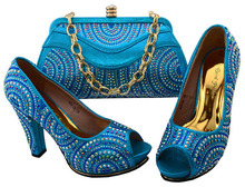 Blue Ladies Wedding Shoes And Bag To Match Wholesales Shoes And Matching Clutch Bag With Newest Italian Matching Shoes BCH-39