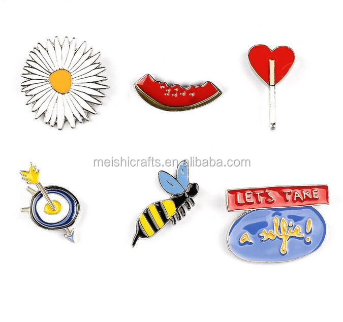 Wholesale brooches set bees watermelon sunflower lady brooch pin metal enamel lapel pin