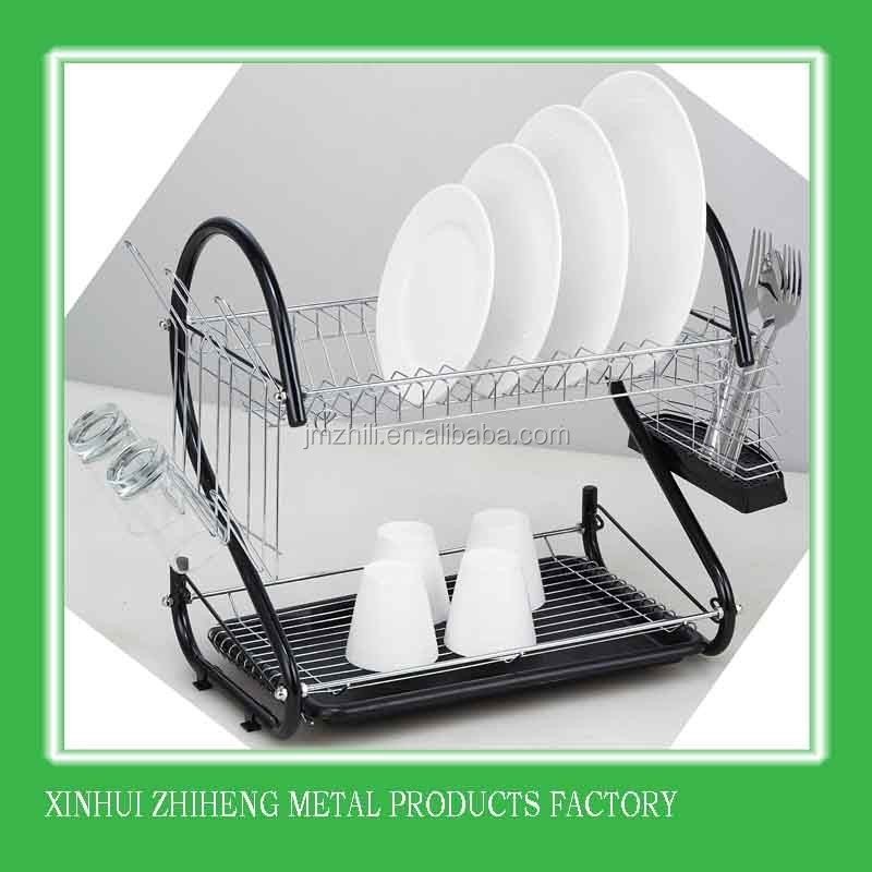 2-tier Drainboard Set Chrome Dish Drainer Kitchen Dish Rack