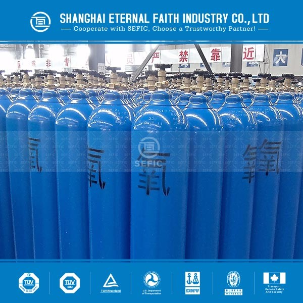 47L ISO9809 industrial high pressure gas cylinder with valve, O2 gas cylinder