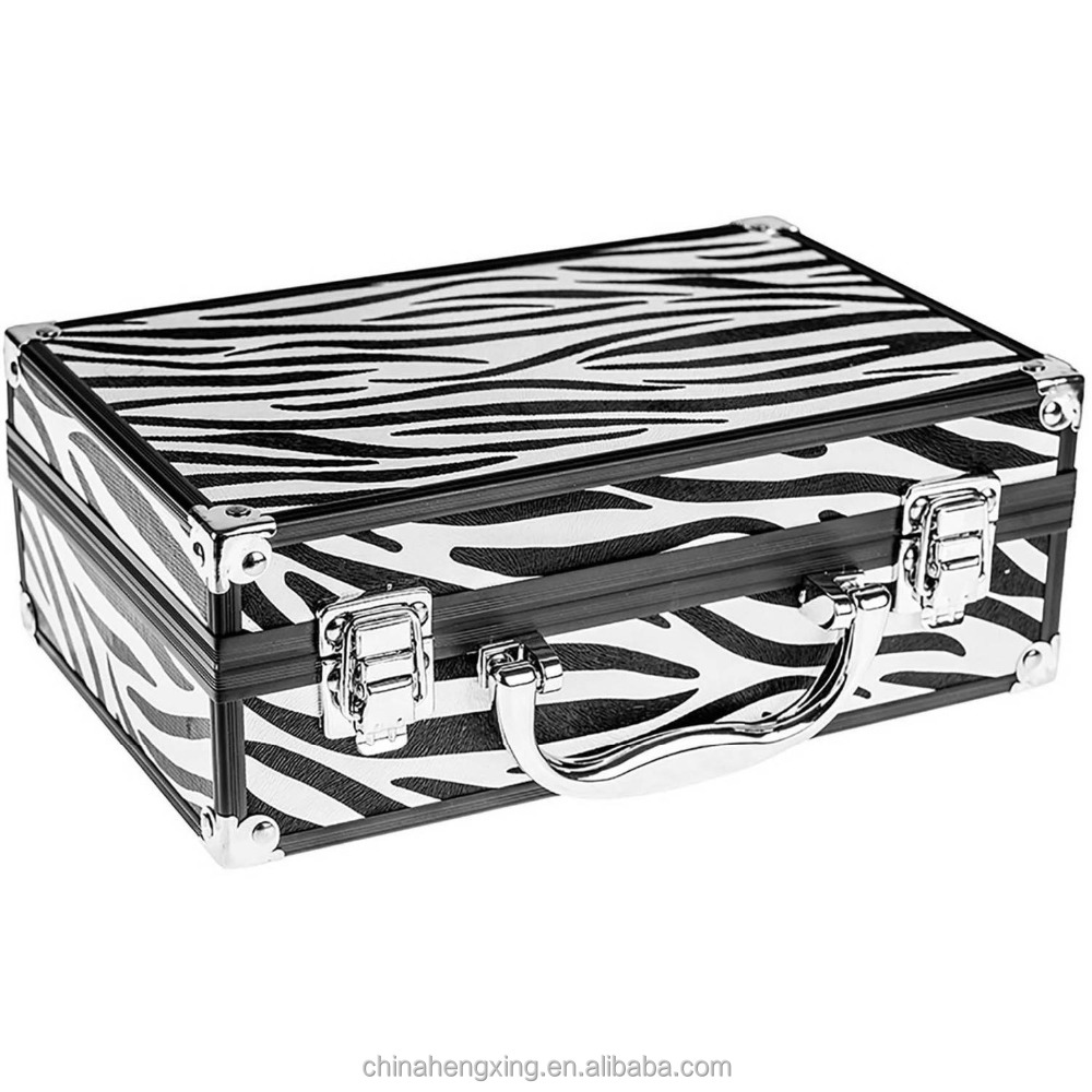 fashion PU covered wooden hard frame portable travel beauty stroage box make up cosmetic case