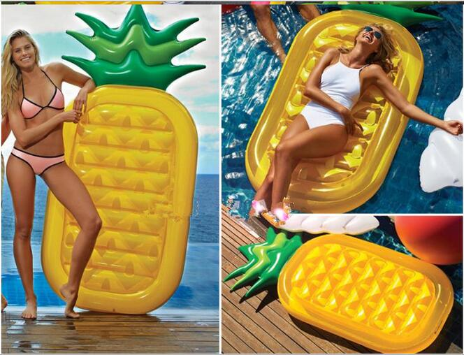 Giant Inflatable Pineapple Float Raft Fruit Swimming Pool Float Seat for Kids and Adults