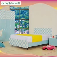 New Fashion Blue Chess Board Single Bed kids bedroom furniture canada