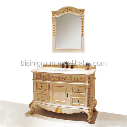 Retro Vintage European Rococo Designed Golden Solid Wood Carving Bathroom Cabinet with Framed Mirror BF12-05314f