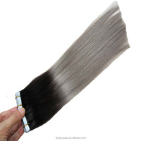 T1B/Grey Ombre Hair Extensions 100g Virgin Brazilian Remy Hair Fita Adesiva 40pcs Hand Tied Skin Weft Tape In Hair Extensions