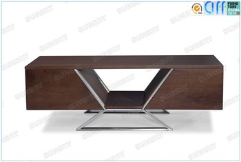 wooden coffee table with stainless steel legs SK1224A