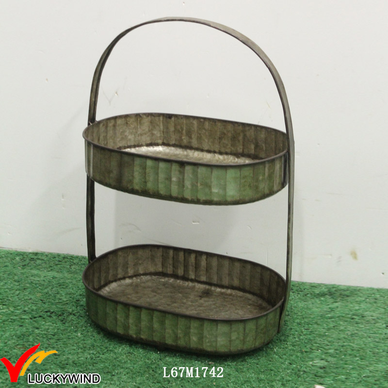 Oval Galvanized Two Tiered Serving Tray