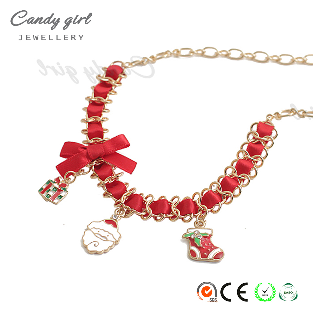 candygirl women father Christmas sock gift bowknot accessories enamel ornament metal red gold weave pendant jewellery necklace
