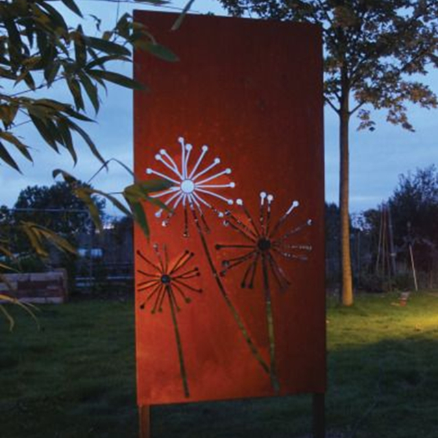 Decorative corten steel dandelion pattern screen fence