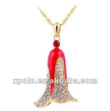 Exquisite Workmanship Red Enamel And Gemstone Christmas Bells Necklace
