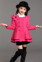 D51701J 2014 autumn and winter children girl's collarless woolen long coat