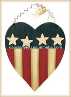 Folk Art Style Wooden Americana Heart with Wire Hanger for Home Decor, Gifting and Embellishing