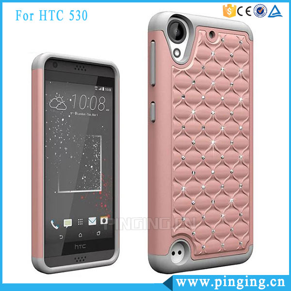 Newest 3 In 1 PC Silicone Bling Bling Diamond Mobile Phone Case For HTC Desire 530