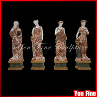 garden decoration natural stone hand carved four season goddess marble statues
