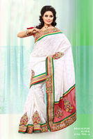 Bhagalpuri Silk Designer White Red Stone Work Saree