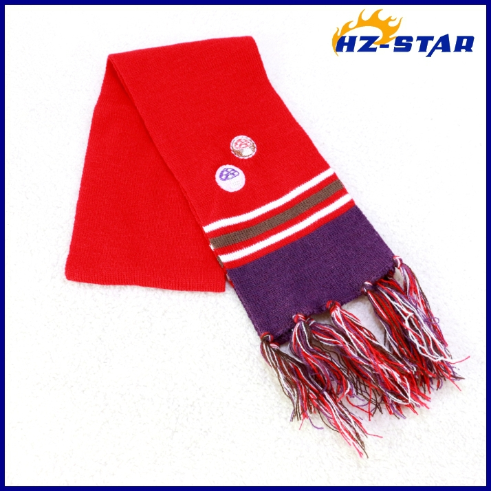 HZW-13352010 design warm 100 acrylic hand knitted patterns embroidery scarf