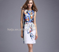 New style Europe printed elegant comfortable fittable causal sleeveless women dress 2016