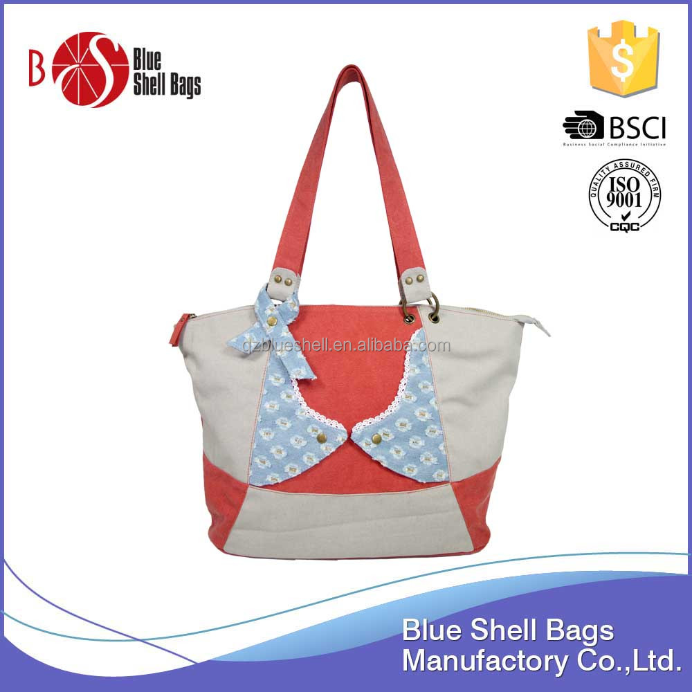Unique design fabric lady handbags with competitive price