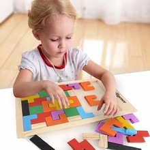 Teaser Puzzle Tetris Preschool Magination Colorful Wooden Tangram Intellectual Educational Kids Toy For Game