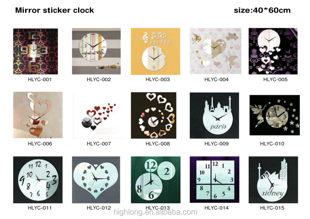 Hot Sale Attractive Home Goods Gifts Living Room Decorative Modern Mirror Sticker Clock