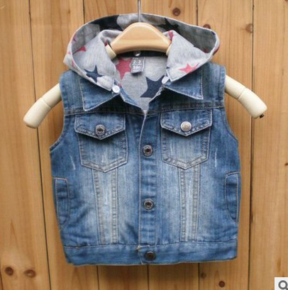 MS73440B Boys stylish denim vest with hood vest