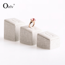 Oirlv Factory Customize Jewelry Displays Stands Set of 3 for Rings in Boutique Shop Showcase Square Bevel Top Display Ring