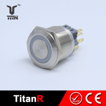 22mm 6 pin 12 volt illuminated metal momentary push button switch