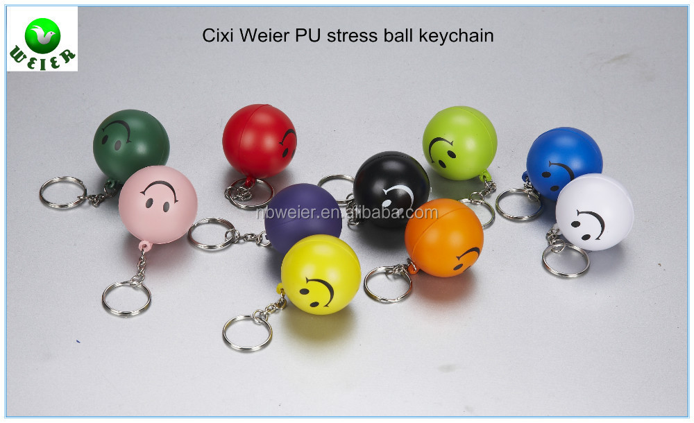 hot selling promotional gift 4cm PU stress ball keychain/bulk PU material stress ball keychain/PU ball keychain for kids&adults