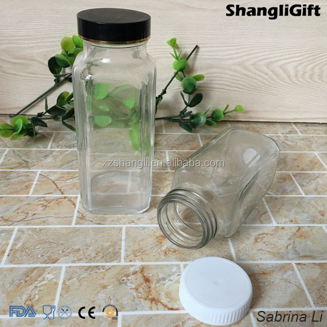 250ml high quality china Manufacturers square juice Glass Bottle with lid
