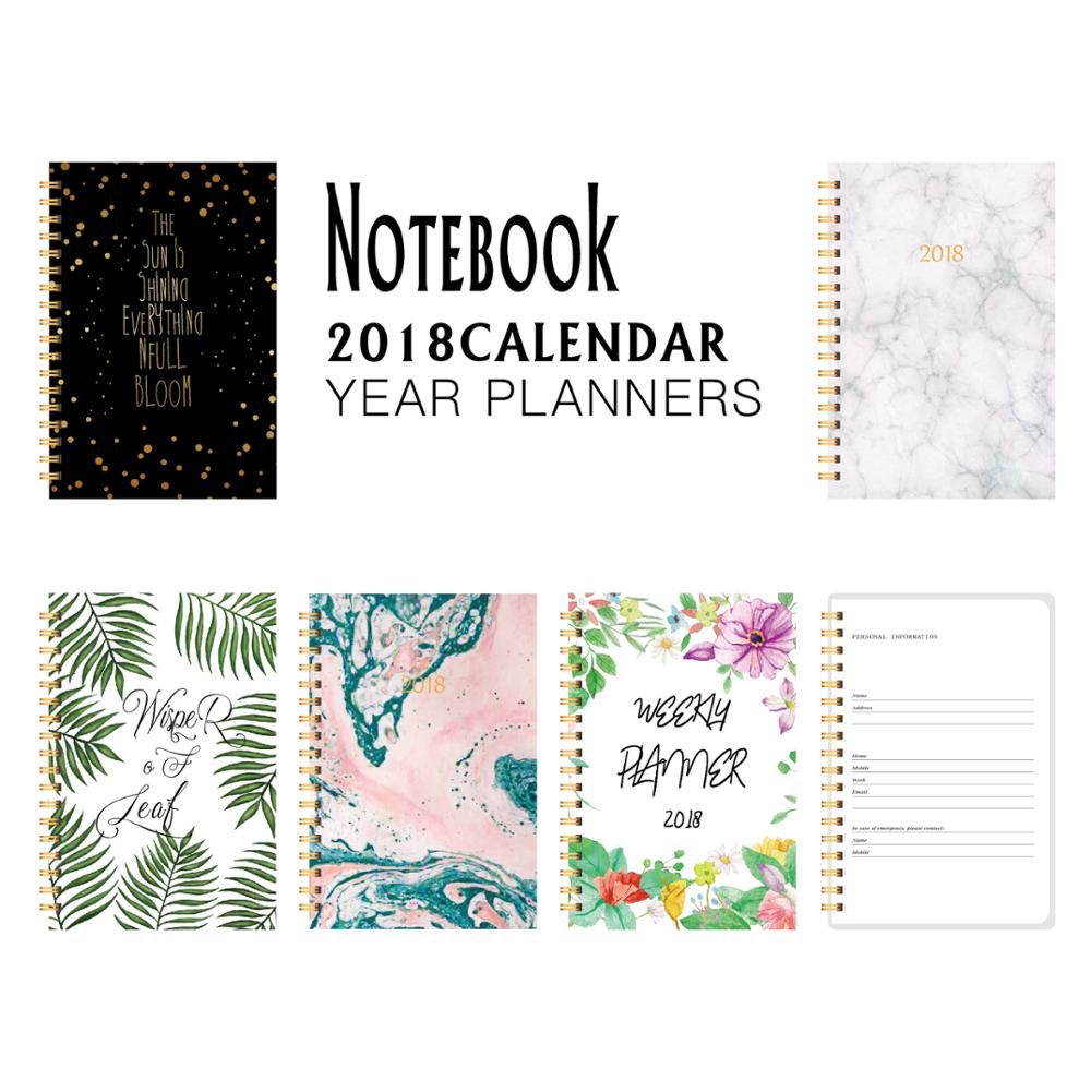 2018 Cute Flower Pattern Planner Pink Note book Monthly Weekly Planner Agenda Notebook Japanese School Supplies