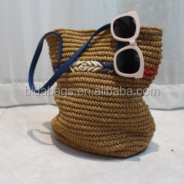 Casual Soft Knit striped Crocheted bag straw bag shoulder hand dual-purpose beach bag factory wholesale