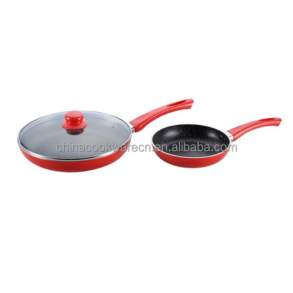 Kitchen appliances different sizes aluminum marble non-stick coating fry pan